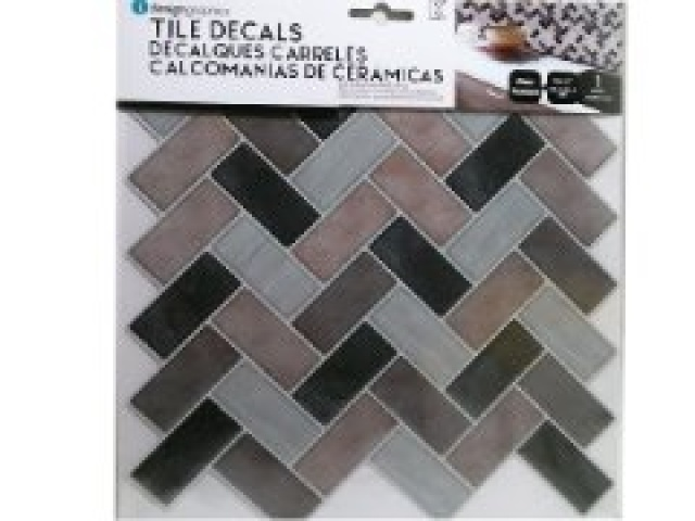 iDesign Wall Decals,Herringbone Greys, 10x10\